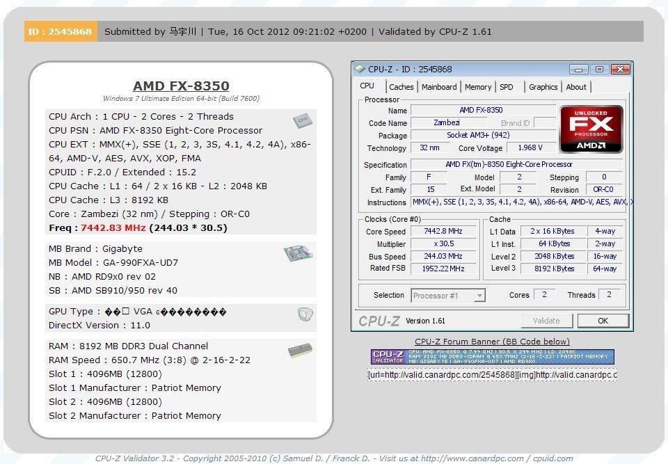 AMD FX-8350 OC mit flüssigem Stickstoff