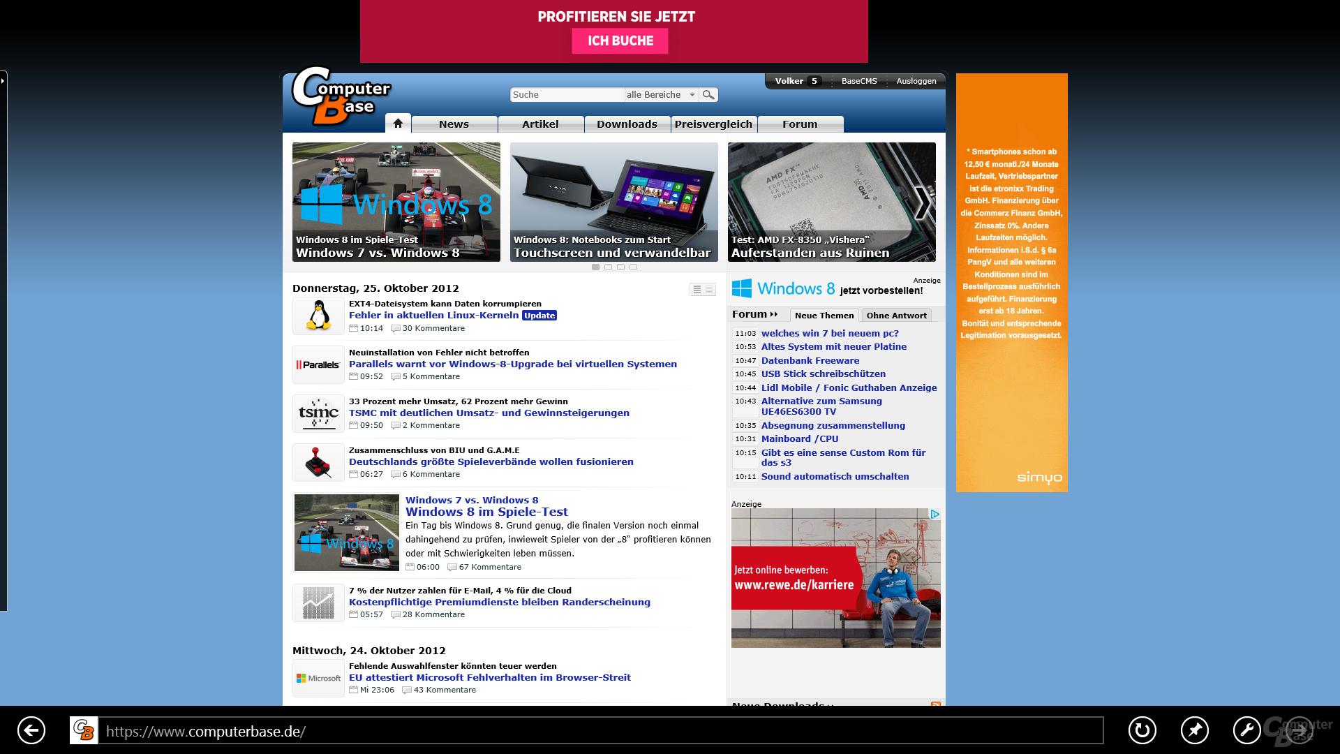 Internet Explorer 10 unter Modern UI
