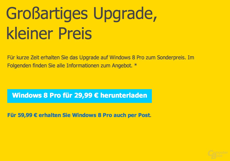Windows 8 Upgrade für 29,99 Euro