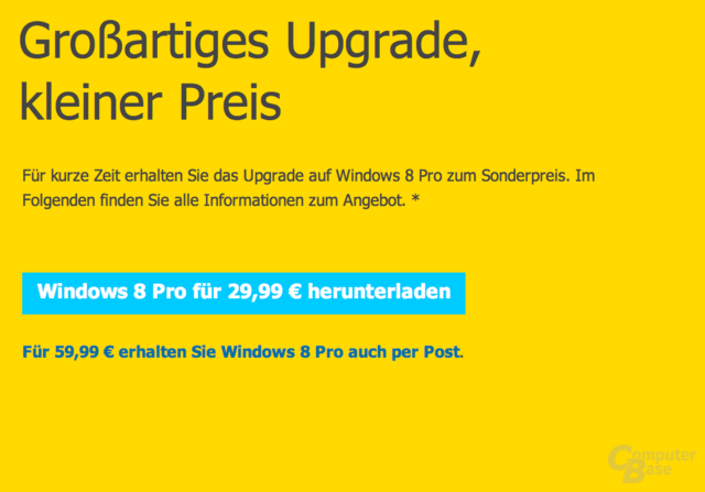 Windows 8 Upgrade für 29,99 Euro