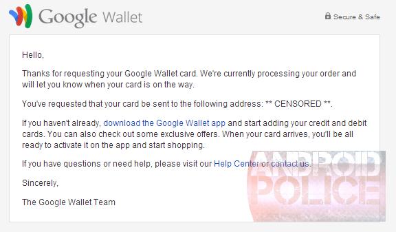 Bestätigung über den Versand der angeblichen Google-Wallet-Karte
