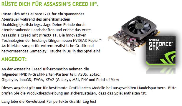 Nvidia-Aktion mit Assassin's Creed 3
