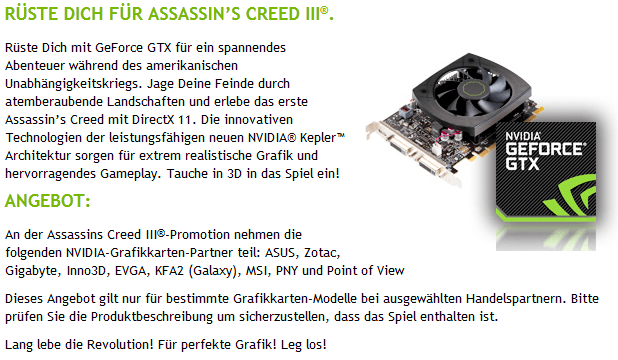 Nvidia-Aktion mit Assassin's Creed 3