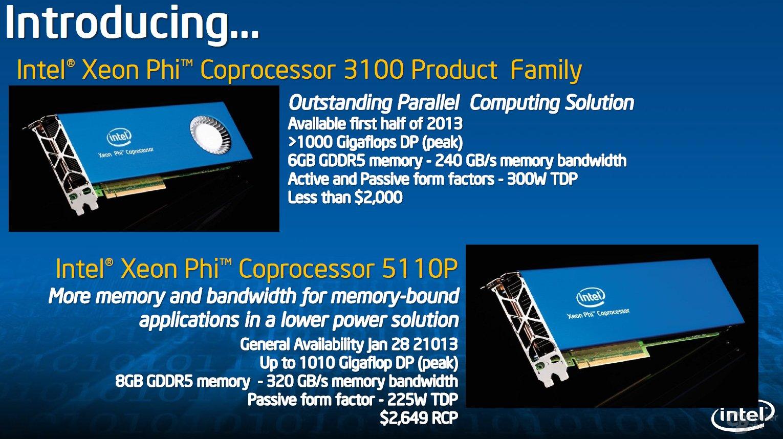 Intel Xeon Phi in zwei Versionen
