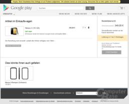 Nexus 4 im Einkaufswagen – Bezahlen geht nicht