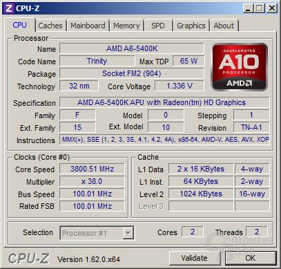 AMD A6-5400K im Turbo für ein Thread