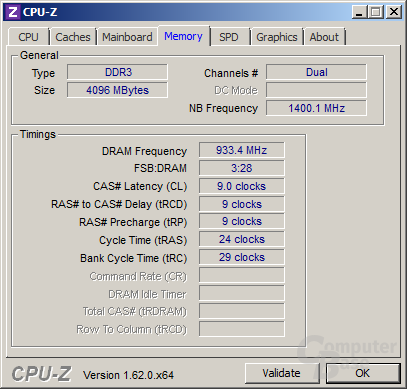 AMD A6-5400K - Speichertakt