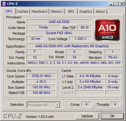 AMD A8-5500 übertaktet im Turbo für mehrere Threads