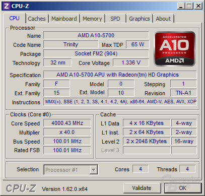 AMD A10-5700 im maximalen Turbo