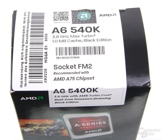 AMD A6-5400K mit teilweise falsch beschrifteter Verpackung