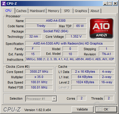 AMD A4-5300 Turbo alle Threads