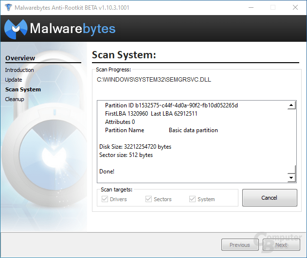 Malwarebytes Anti-Rootkit – Scan System