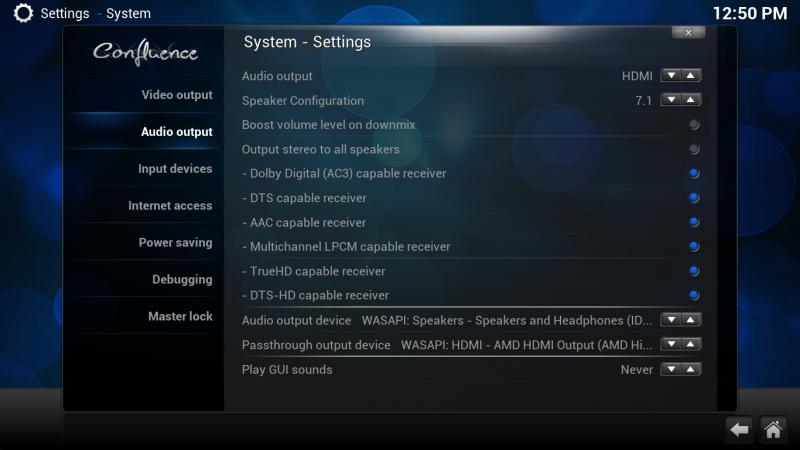 XBMC Audio-Ausgabe