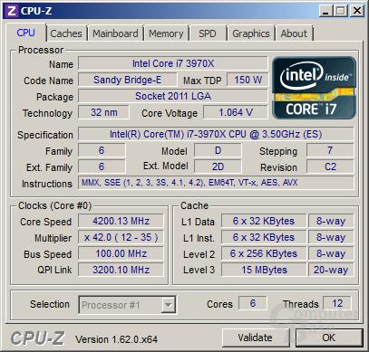 Intel Core i7-3970X übertaktet mit 4,2 GHz für alle Threads