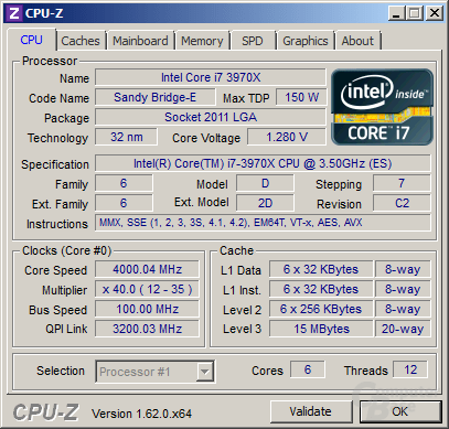 Intel Core i7-3970X im Turbo undervoltet
