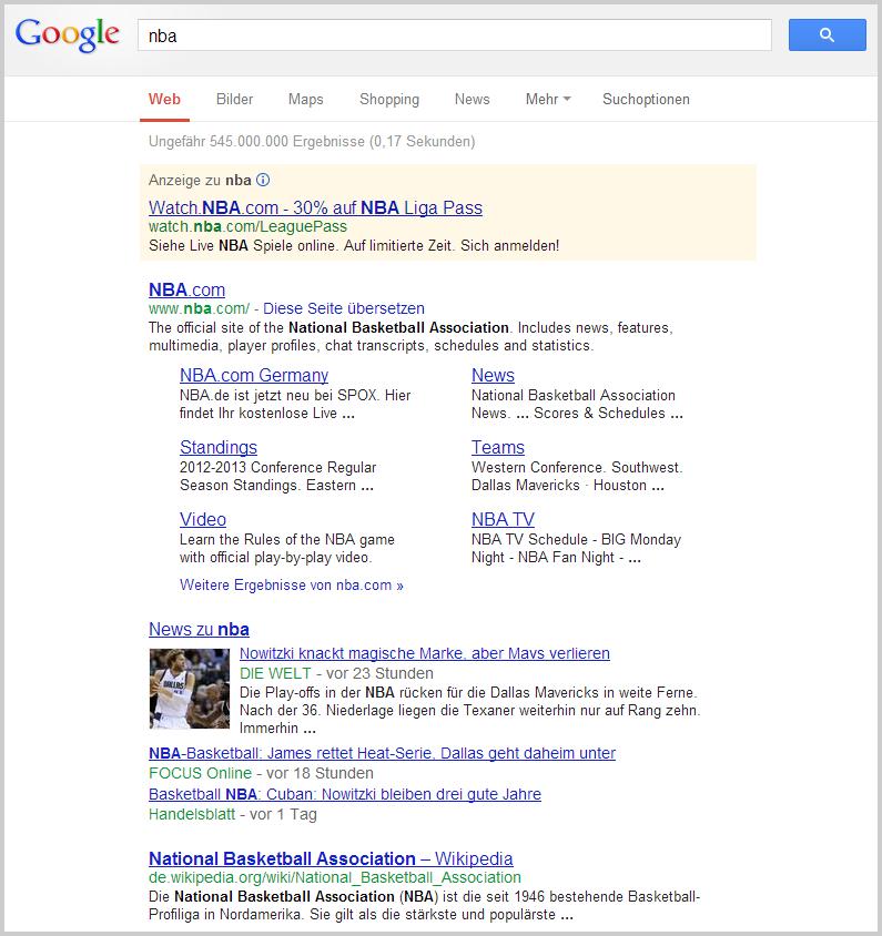 Google ohne Sport-Infobox