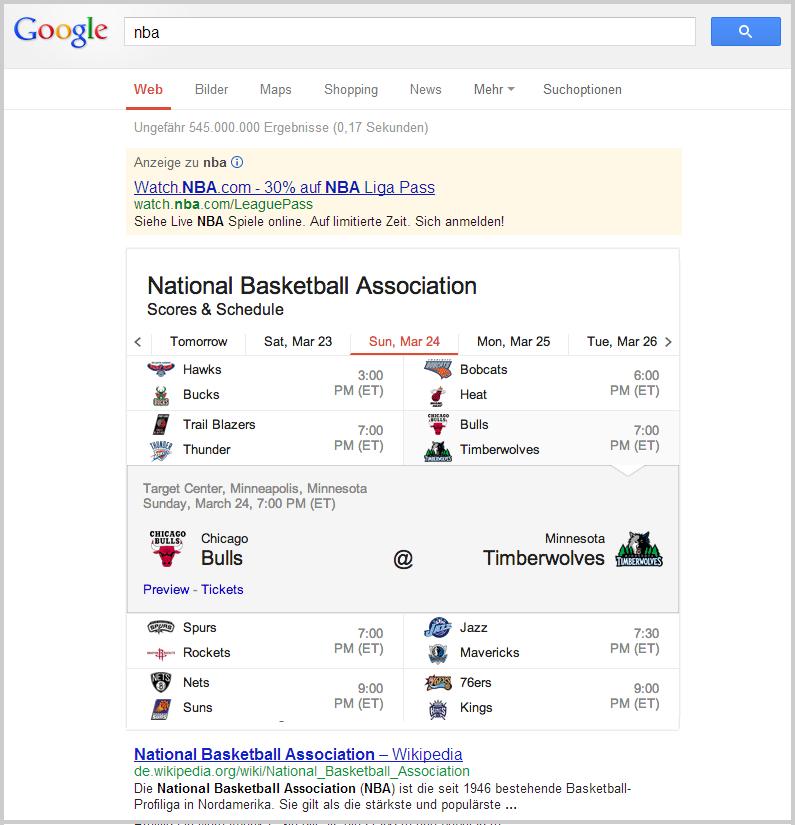 Google mit Sport-Infobox