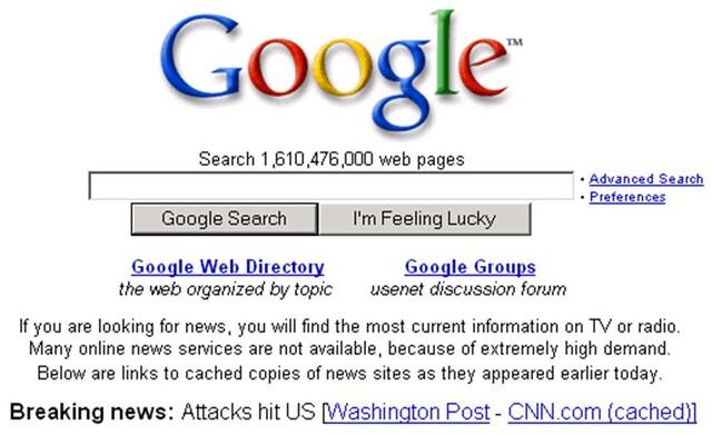 Google-Startseite am 11. September 2001