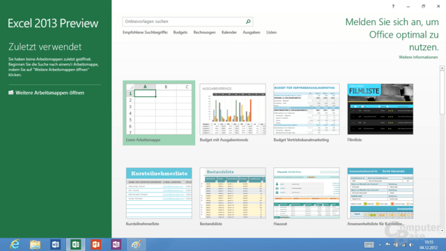 Excel 2013 für Windows RT