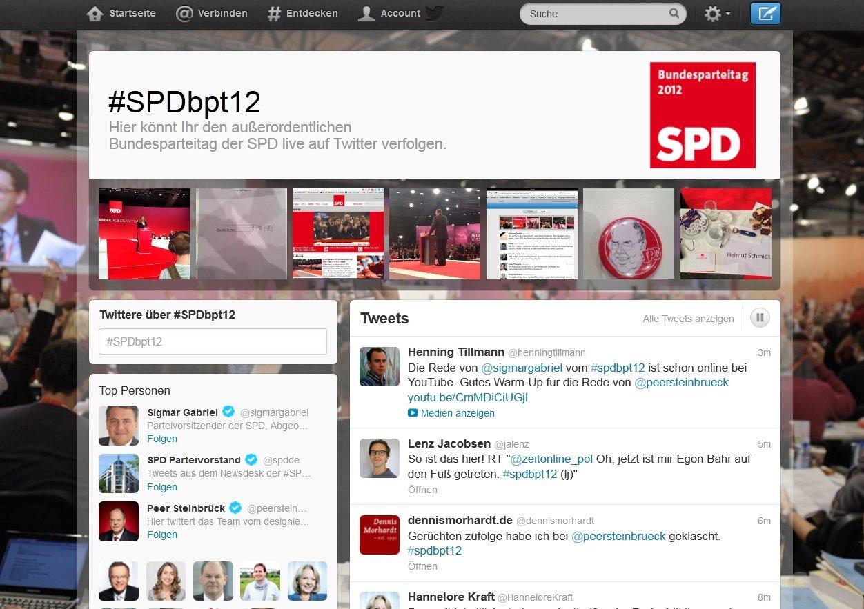 Twitter-Eventpage vom SPD-Parteitag