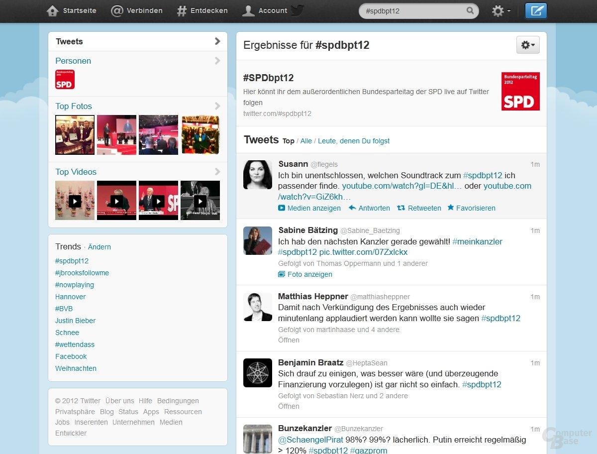 Hashtag-Webseite vom SPD-Parteitag