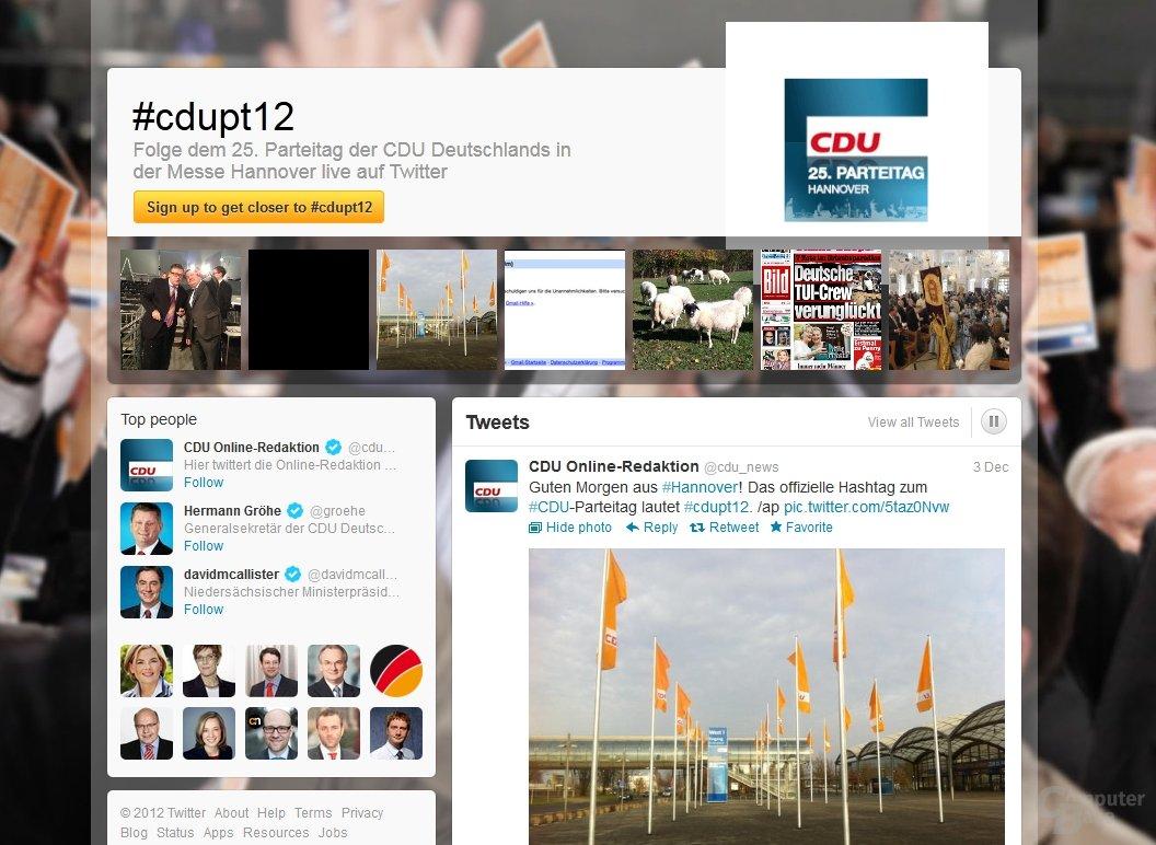 Twitter-Eventpage vom CDU-Parteitag