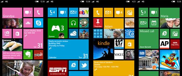 Startbildschirme von Windows Phone 8