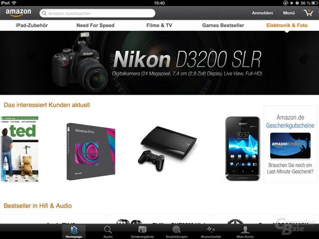 Amazon Mobil-App Startseite