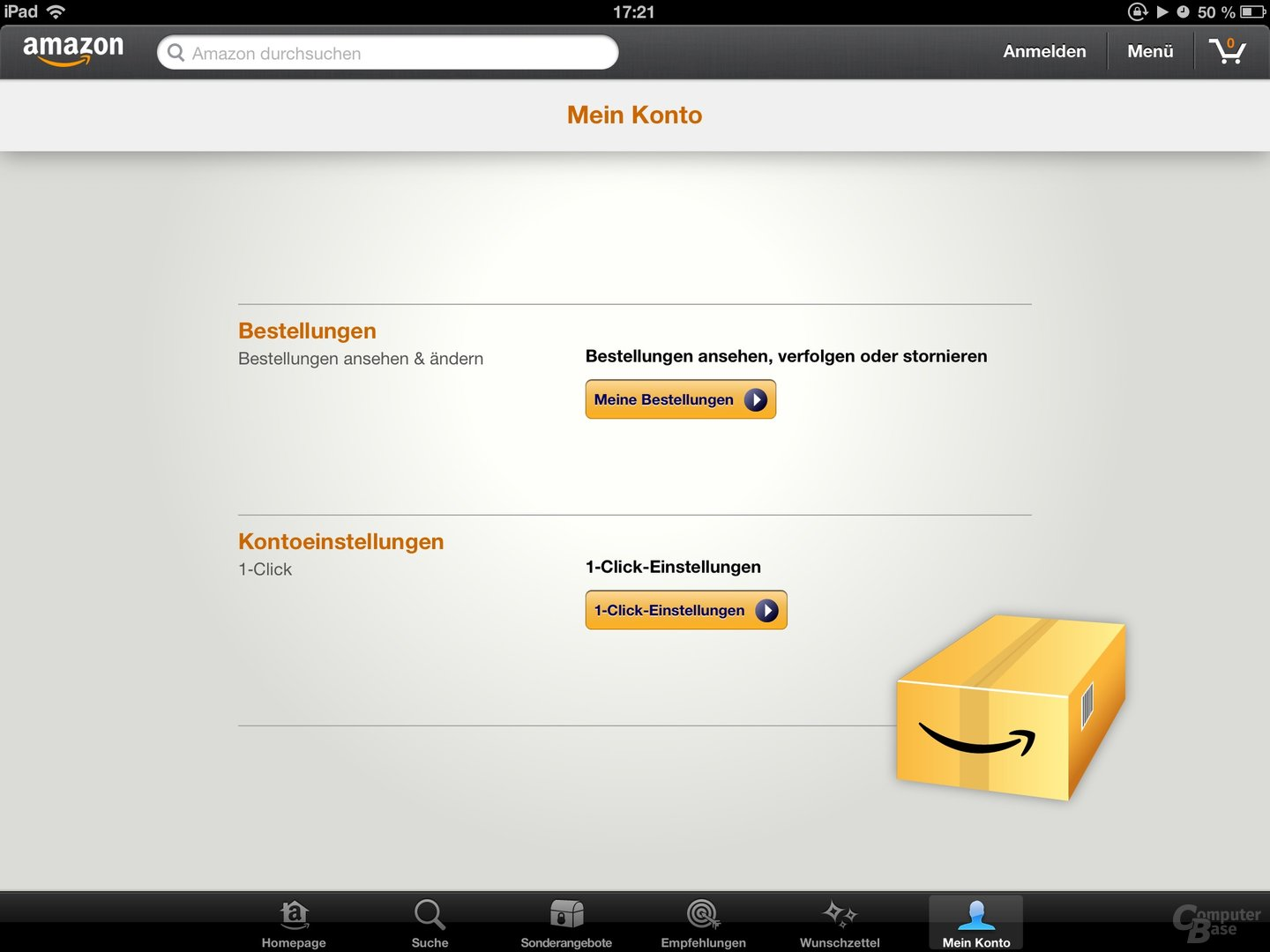 Amazon Mobil-App Einstellungsoptionen