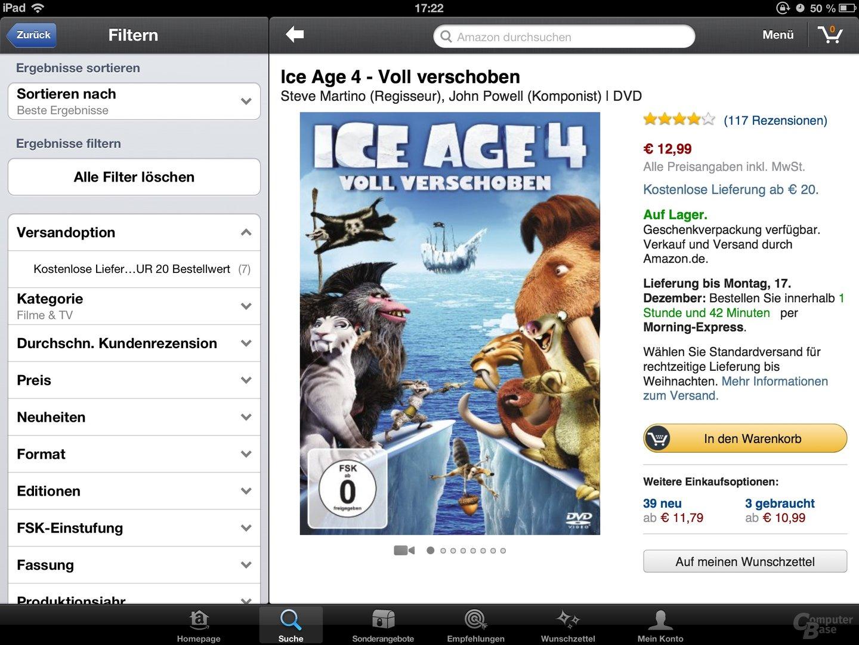 Amazon Mobil-App Trailerwiedergabe