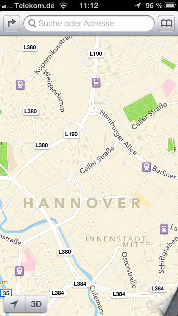 Aktuelle Darstellung in Apple Maps