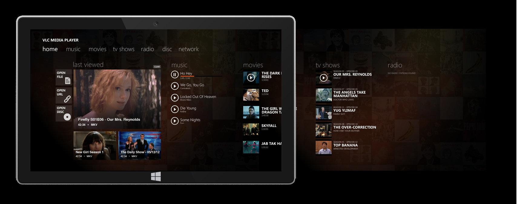 VLC Media Player mit angepasster Oberfläche
