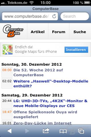 ComputerBase-Startseite (Mobil)