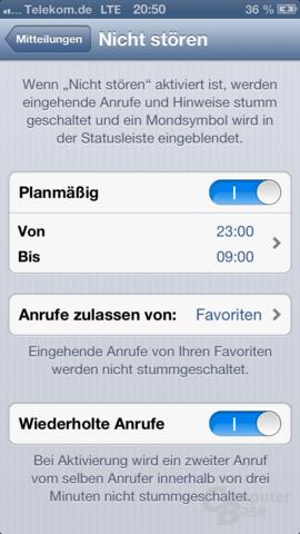 """Einstellung der """"Nicht-stören""""-Funktion unter iOS 6"""