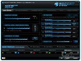 Roccat-Software Übersicht mit dpi-Stufen-Einstellungen
