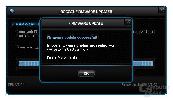 Nach der Installation folgt sofort die Firmware-Aktualisierung