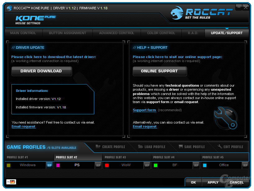 Support-Übersicht und Links zur Roccat-Homepage