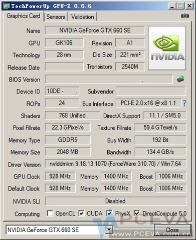 GPU-Z: GeForce GTX 660 SE