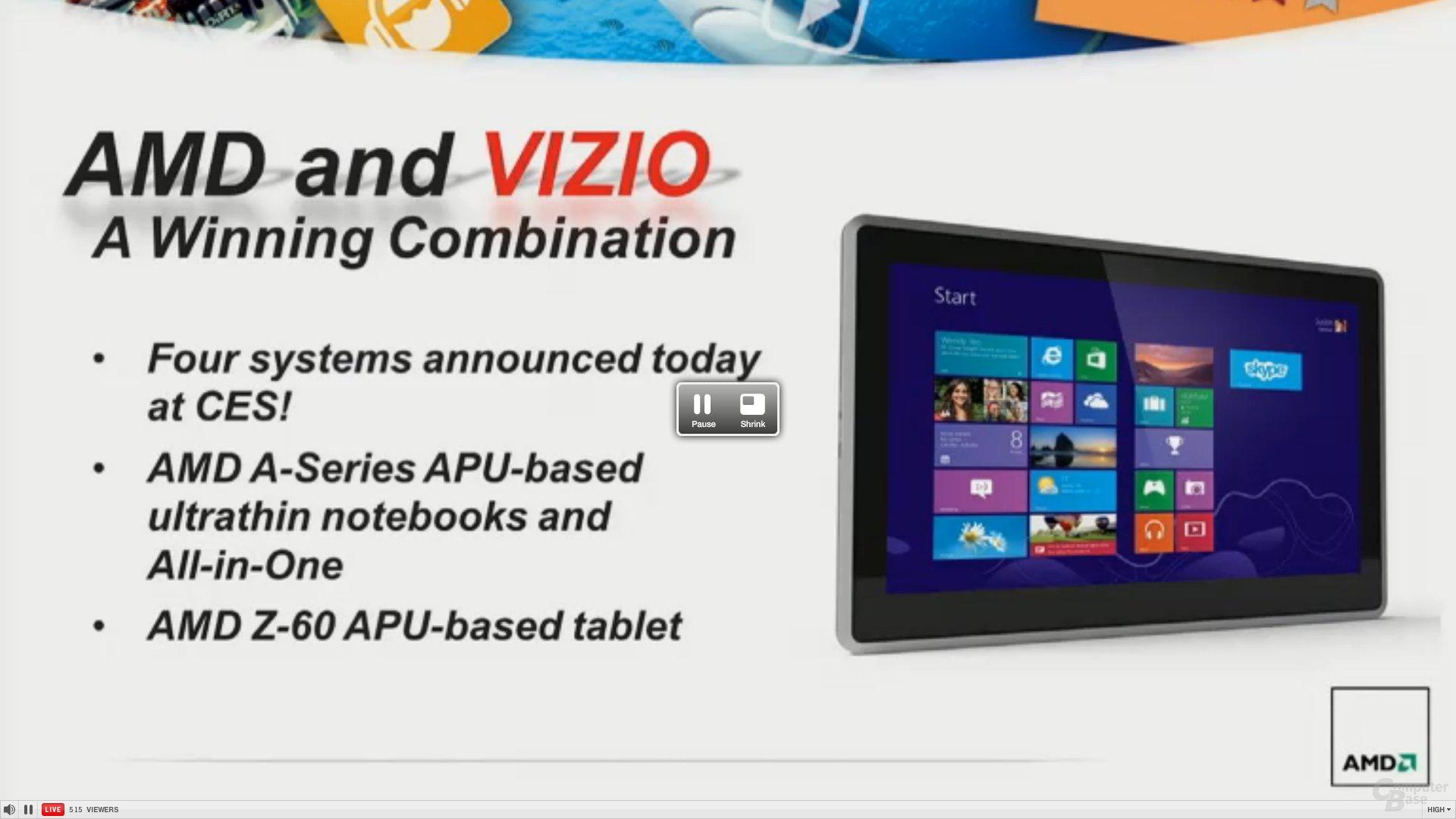Vizio-Produkte mit AMD-APUs
