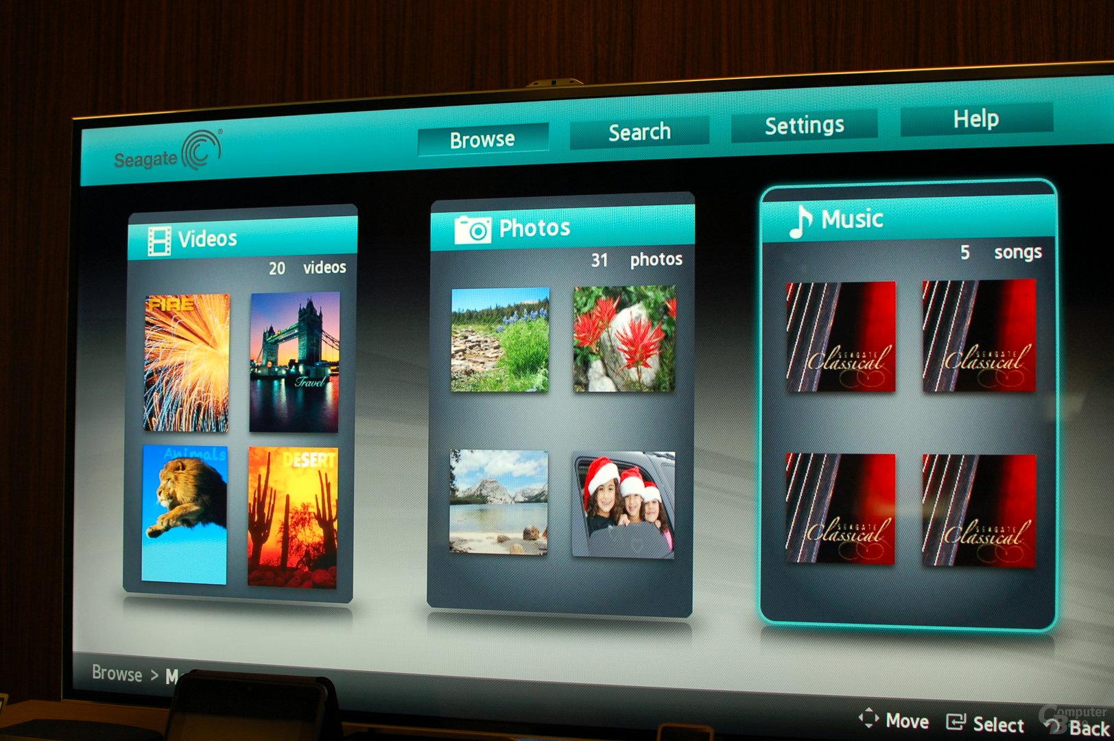 Seagate Dashboard auf Samsung-Fernseher