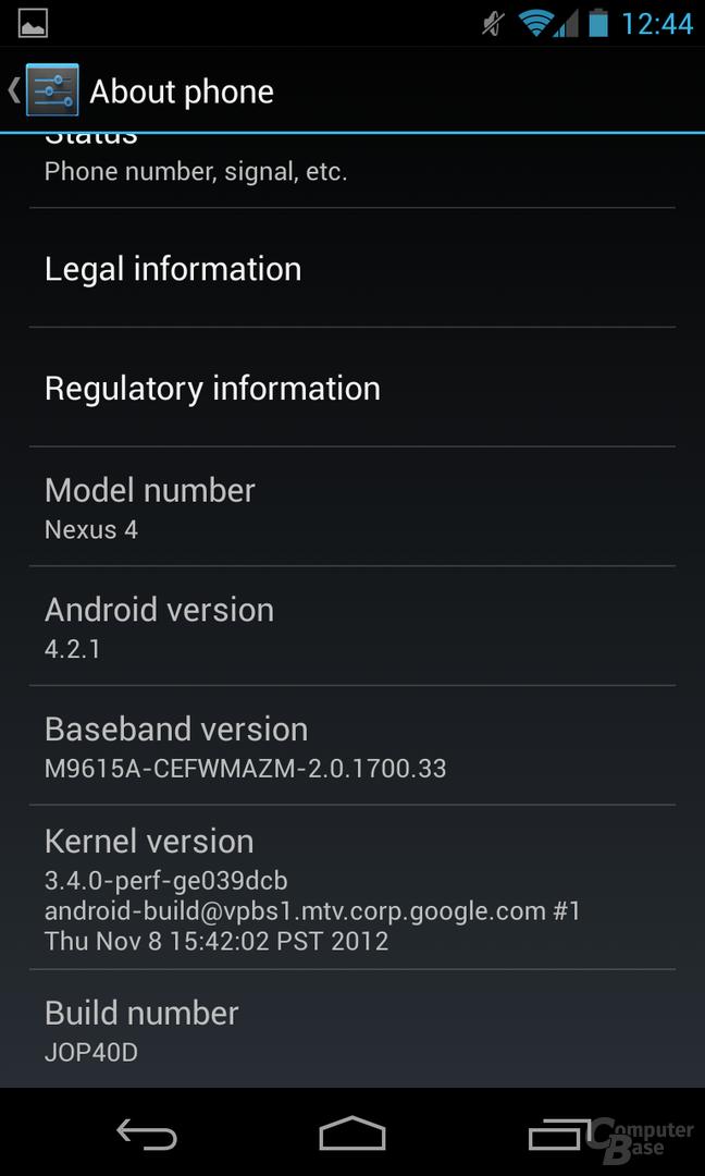 Android 4.2.1 - Über das Telefon