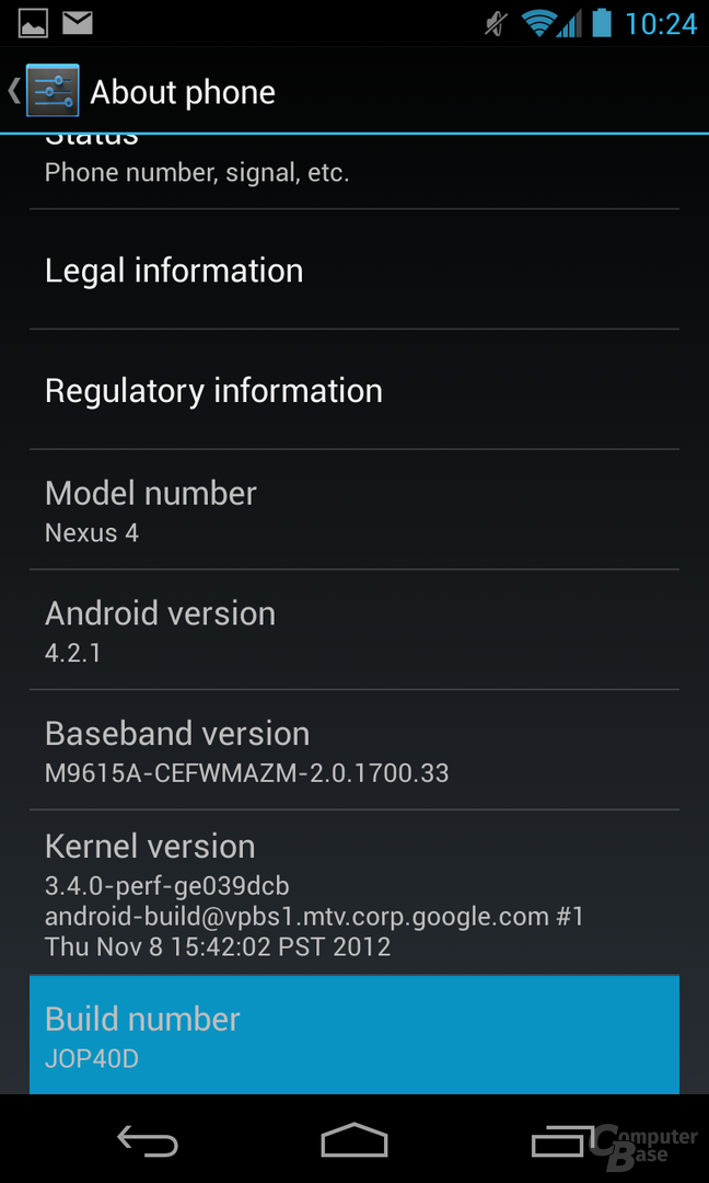 Android 4.2.1 - Developer Options