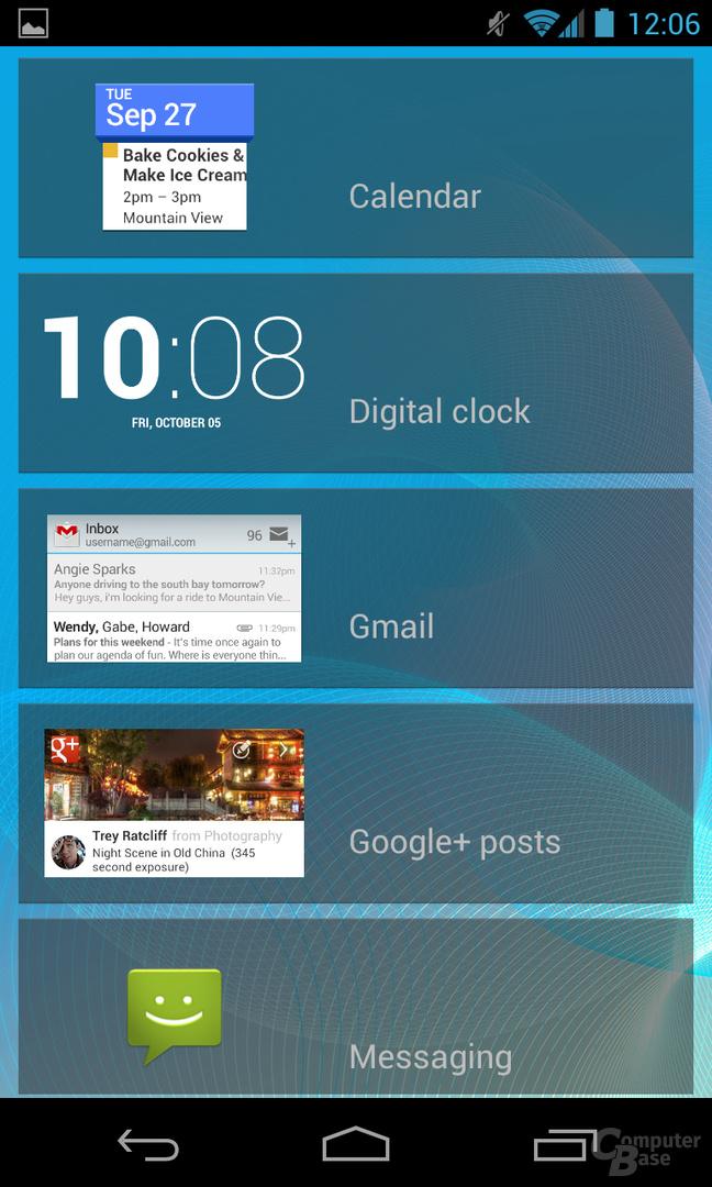 Android 4.2.1 - Lockscreen-Widget Übersicht