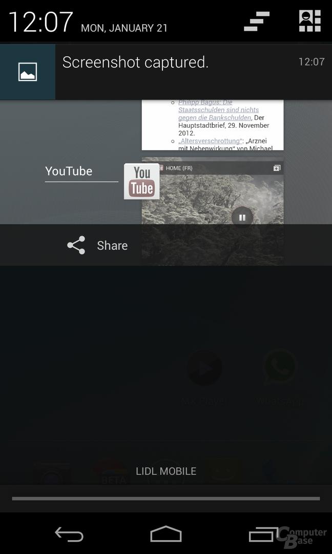 Android 4.2.1 - Statusleiste