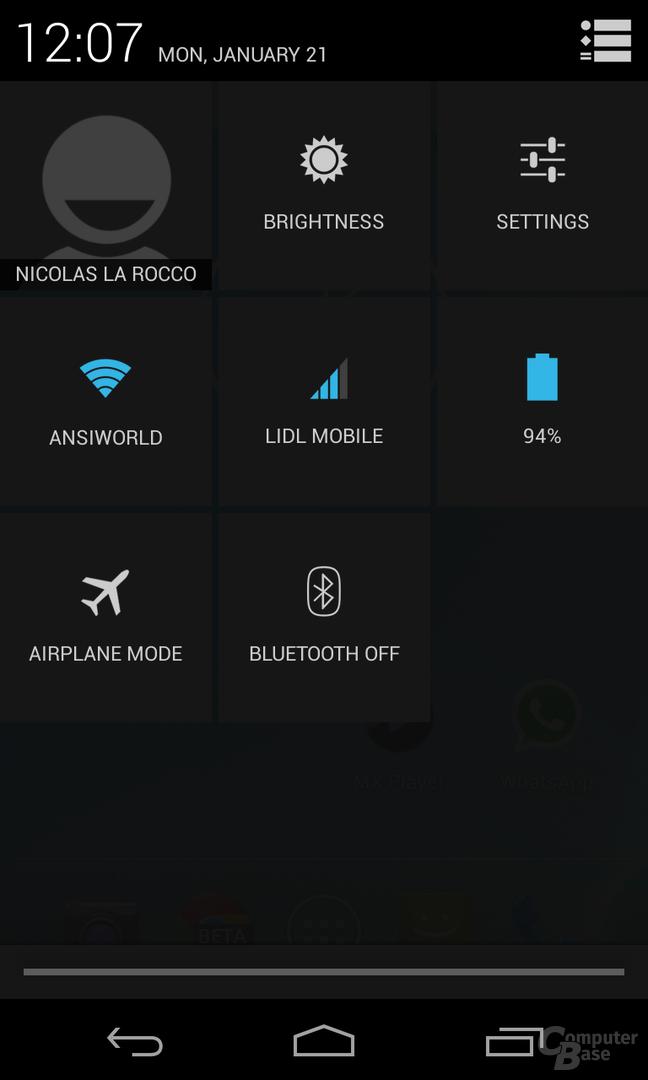 Android 4.2.1 - Statusleiste Einstellungen