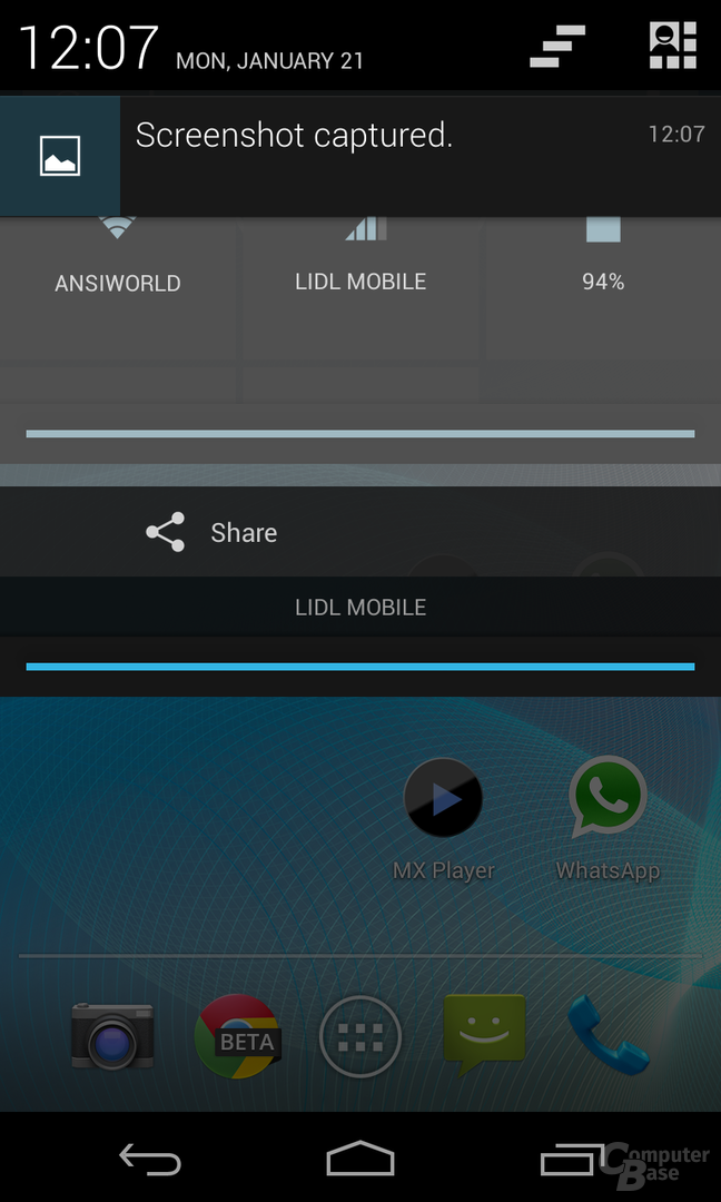 Android 4.2.1 - Statusleiste Animation
