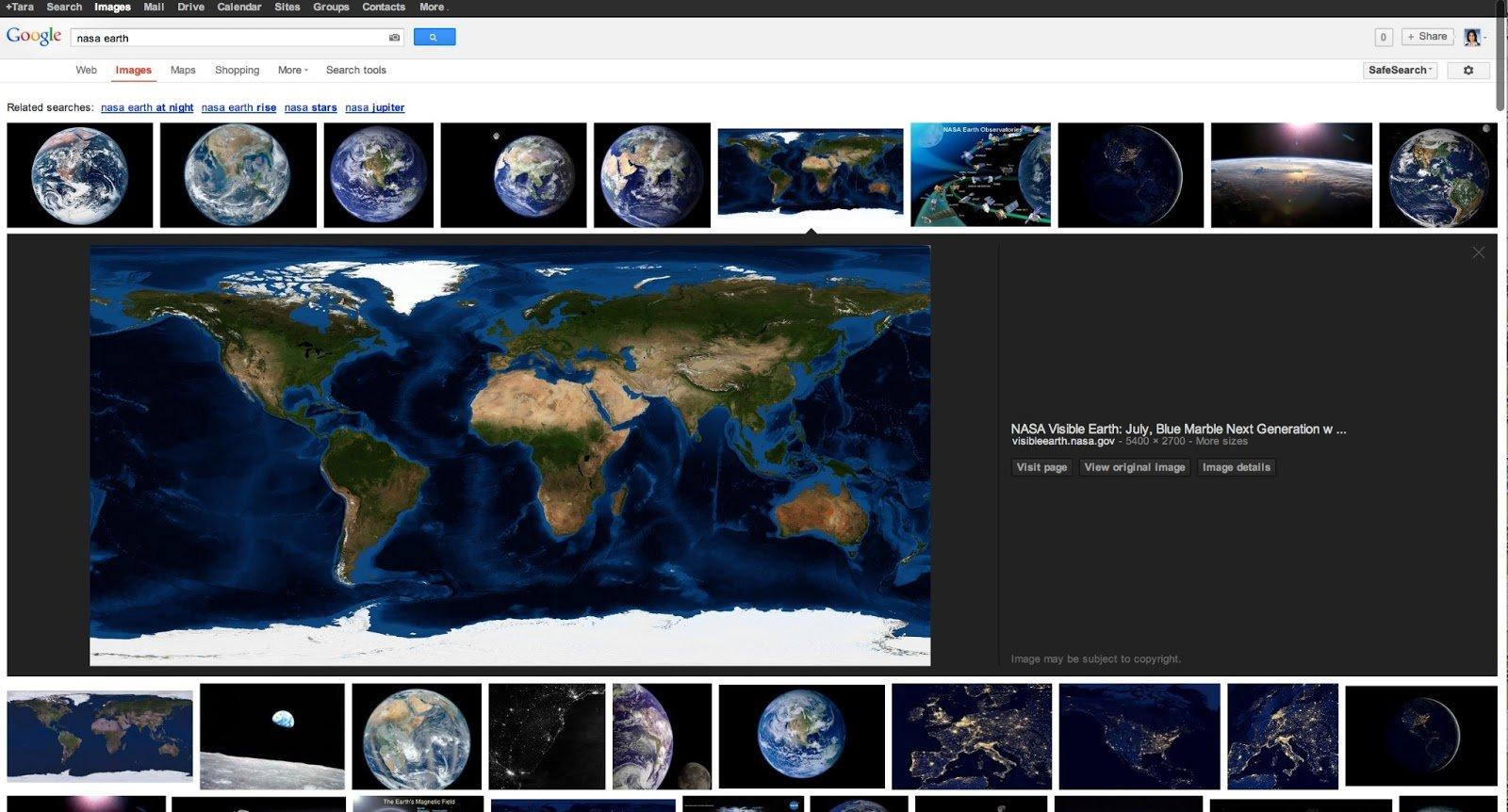 Bilder-Panel der Google Suche