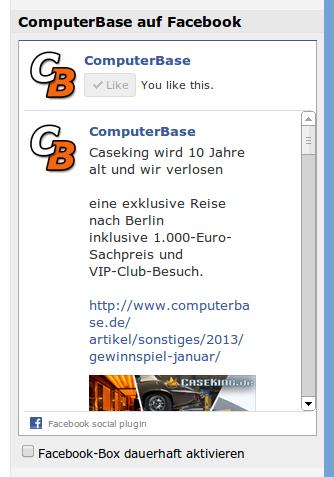 Facebook-Box (aktiviert)