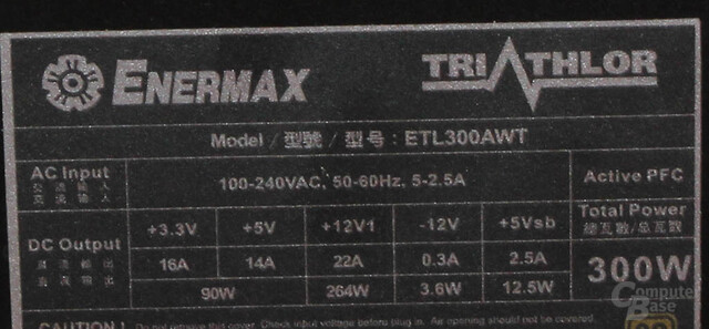 Enermax Triathlor 300 Watt – Datenblatt