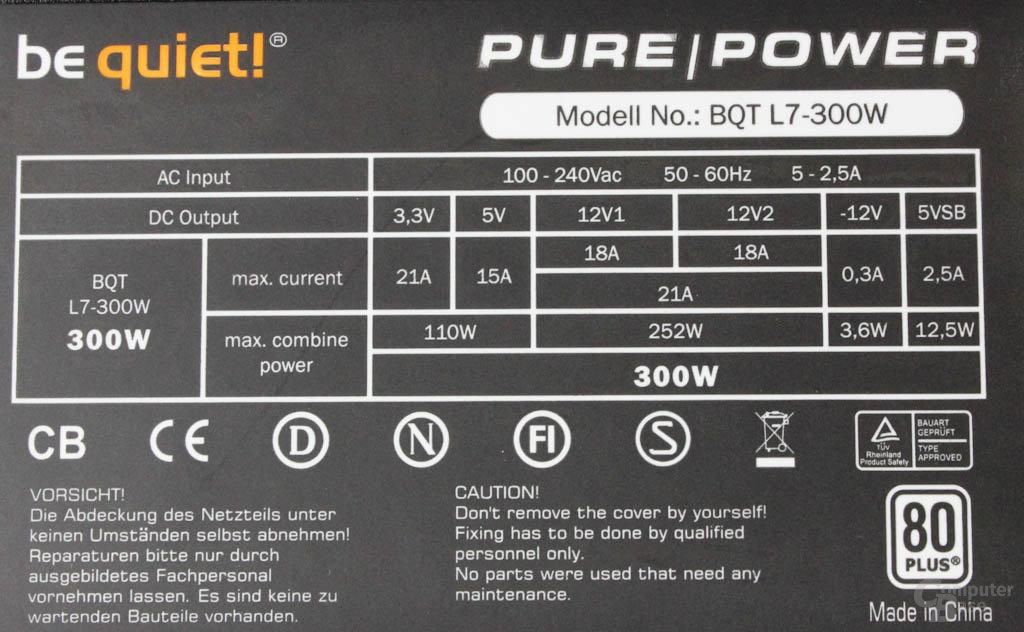 be quiet! Pure Power L7 300 Watt – Datenblatt